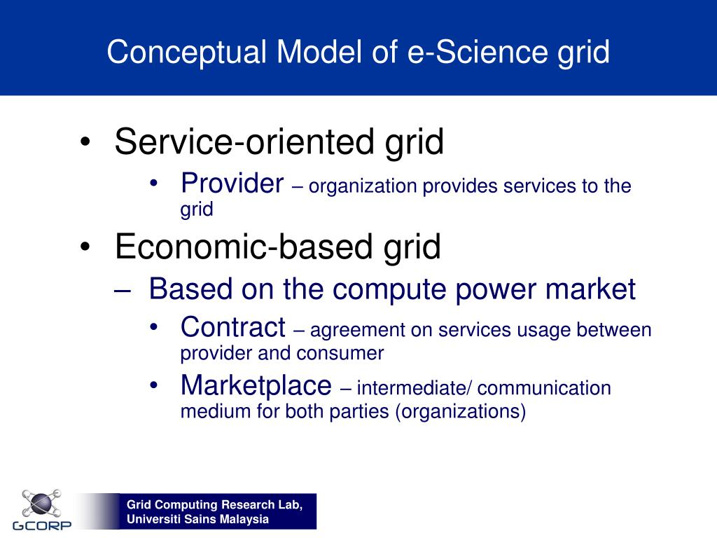 Conceptual Model of e-Science grid