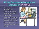 all the documented results are analyzed in whonet