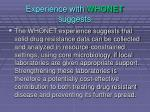 experience with whonet suggests