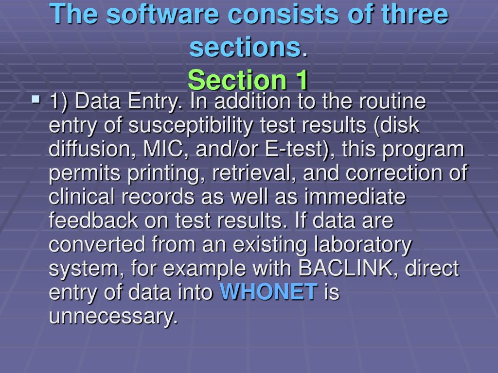 The software consists of three sections