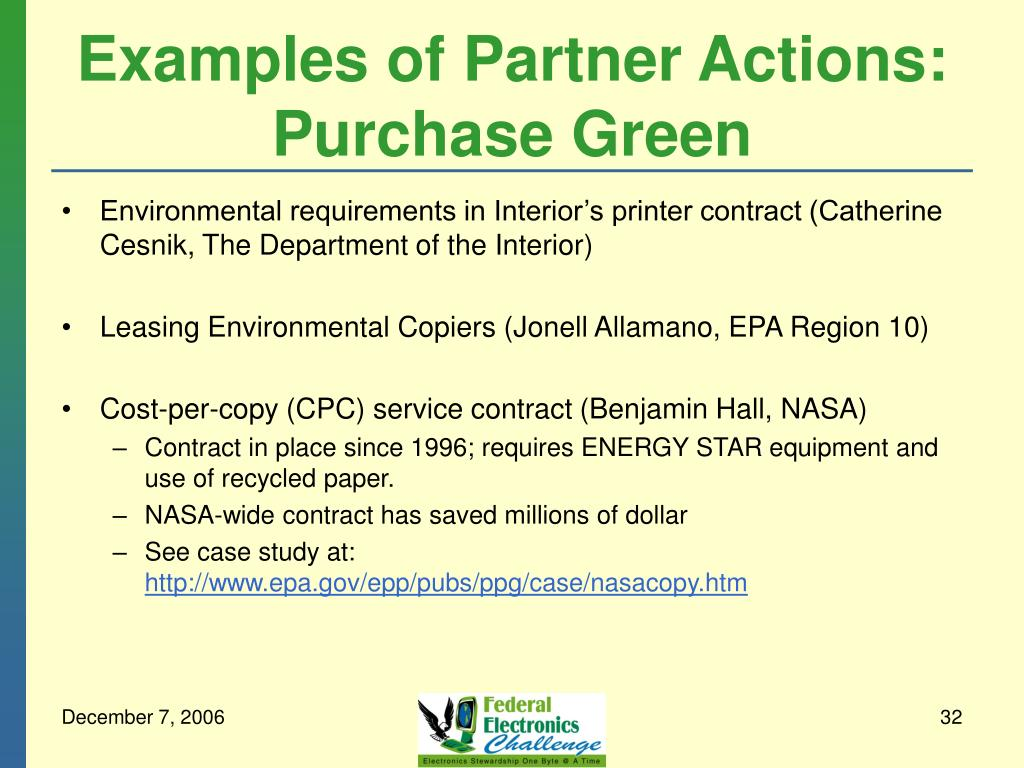 Examples of Partner Actions: Purchase Green