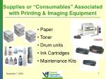 supplies or consumables associated with printing imaging equipment