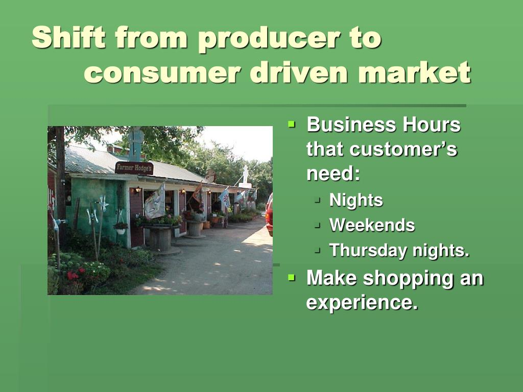 Shift from producer to 			consumer driven market