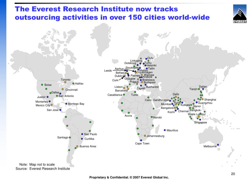 The Everest Research Institute now tracks outsourcing activities in over 150 cities world-wide