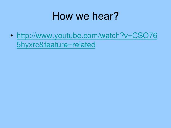 How we hear?