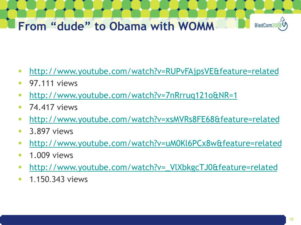 """From """"dude"""" to Obama with WOMM"""