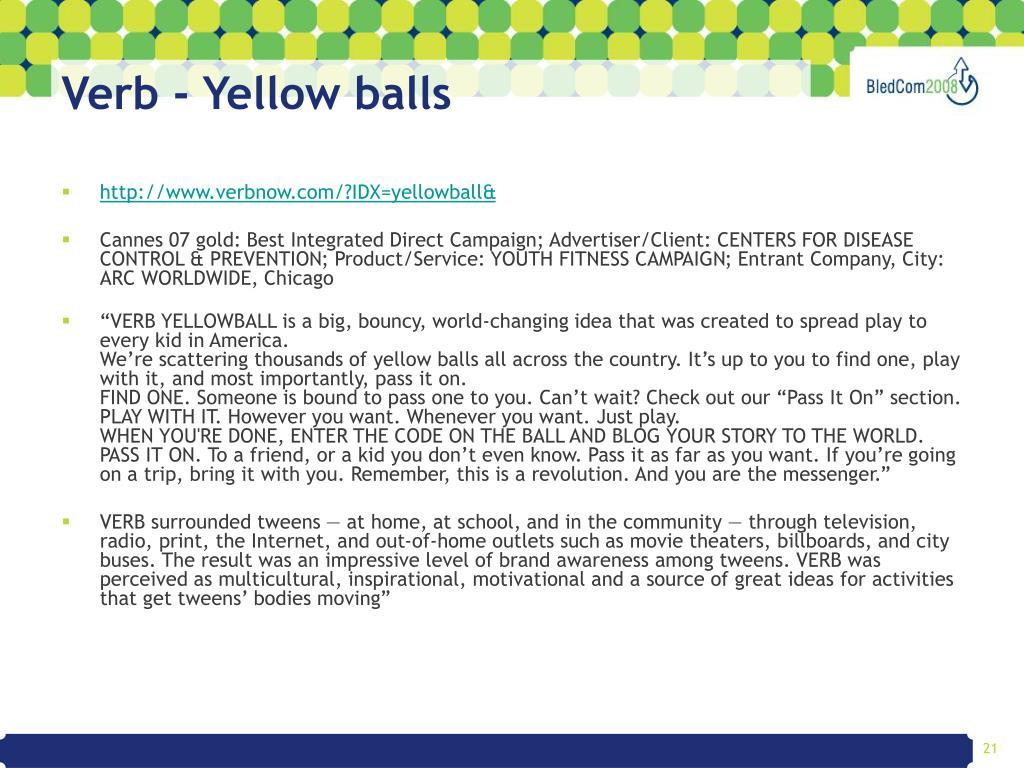 Verb - Yellow balls