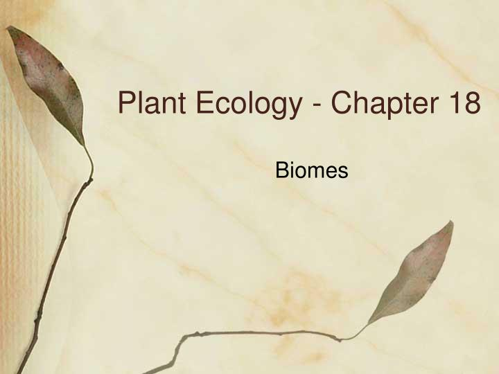 plant ecology chapter 18 n.