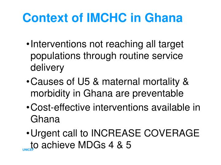 Context of IMCHC in Ghana