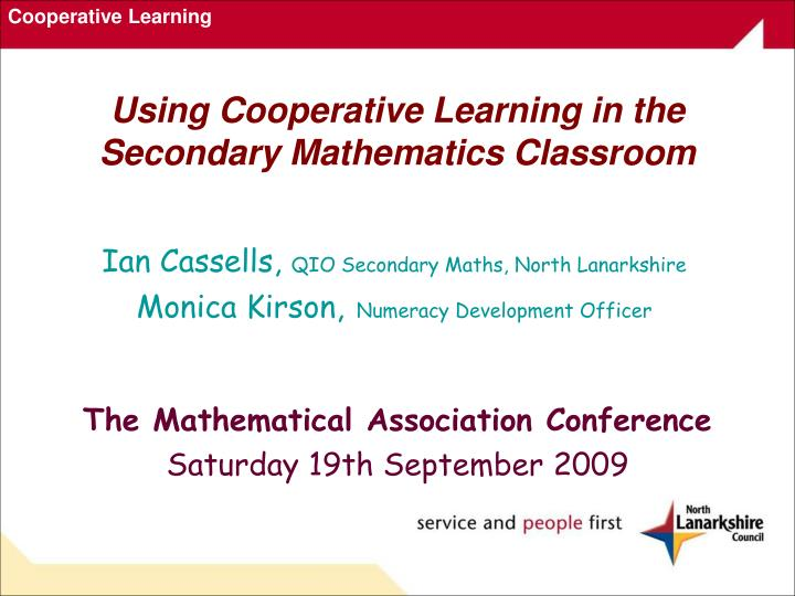 using cooperative learning in the secondary mathematics classroom n.