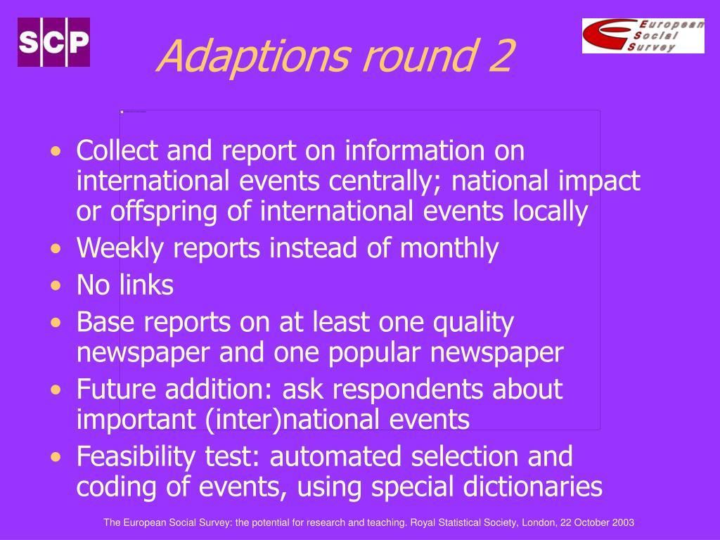 Adaptions round 2