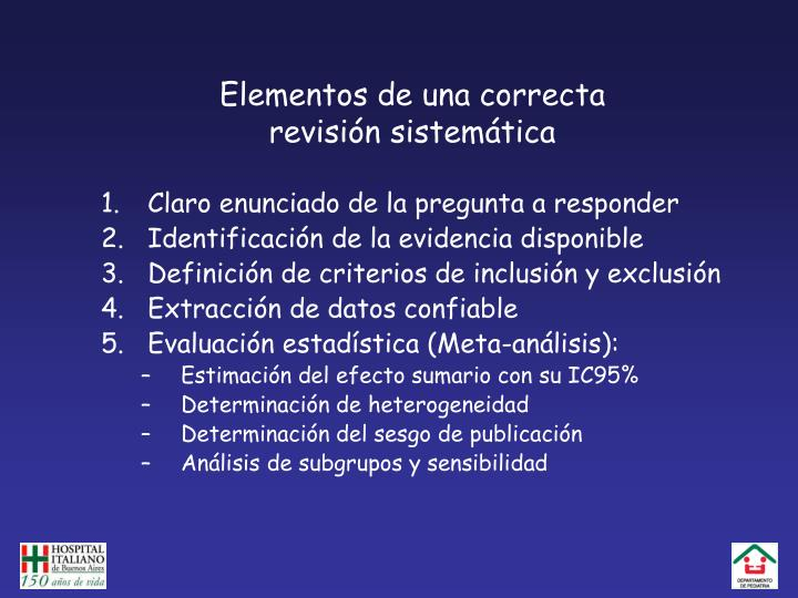 Elementos de una correcta revisi n sistem tica