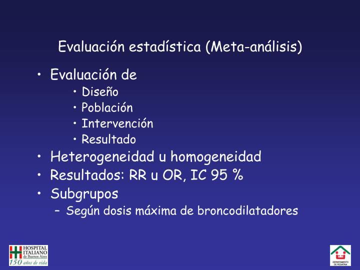 Evaluación estadística (Meta-análisis)
