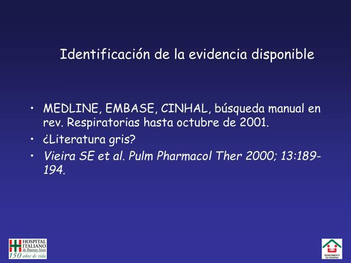 Identificación de la evidencia disponible