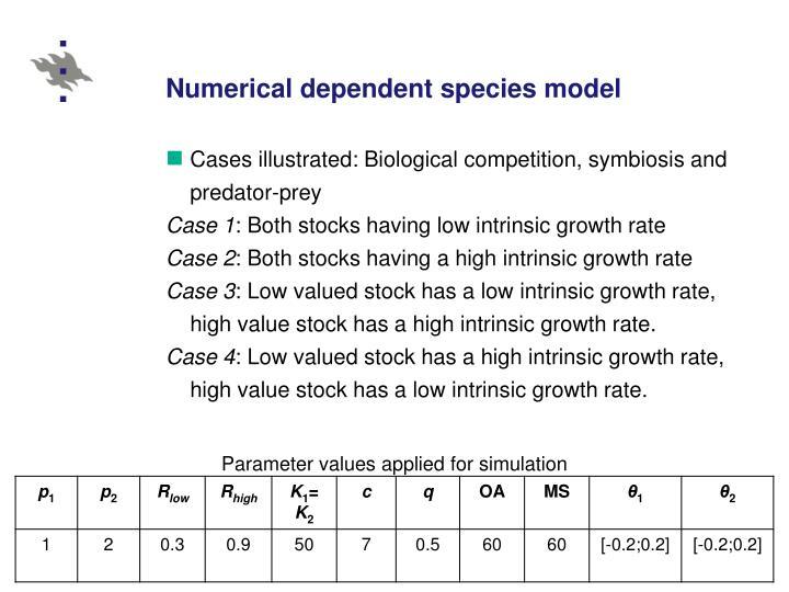 Numerical dependent species model