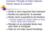 common threads of arab cultures family values customs