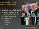 leadership focus psalms for leaders as rulers