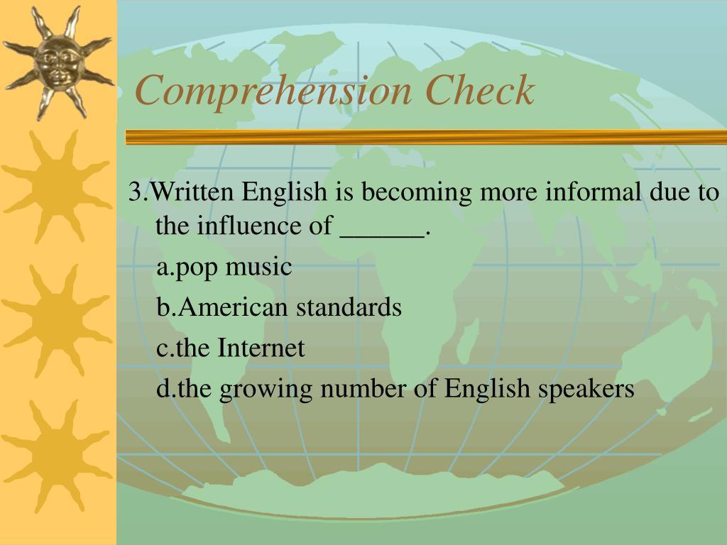 Comprehension Check