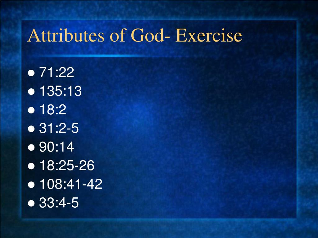 Attributes of God- Exercise