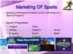 marketing of sports