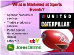 what is marketed at sports events