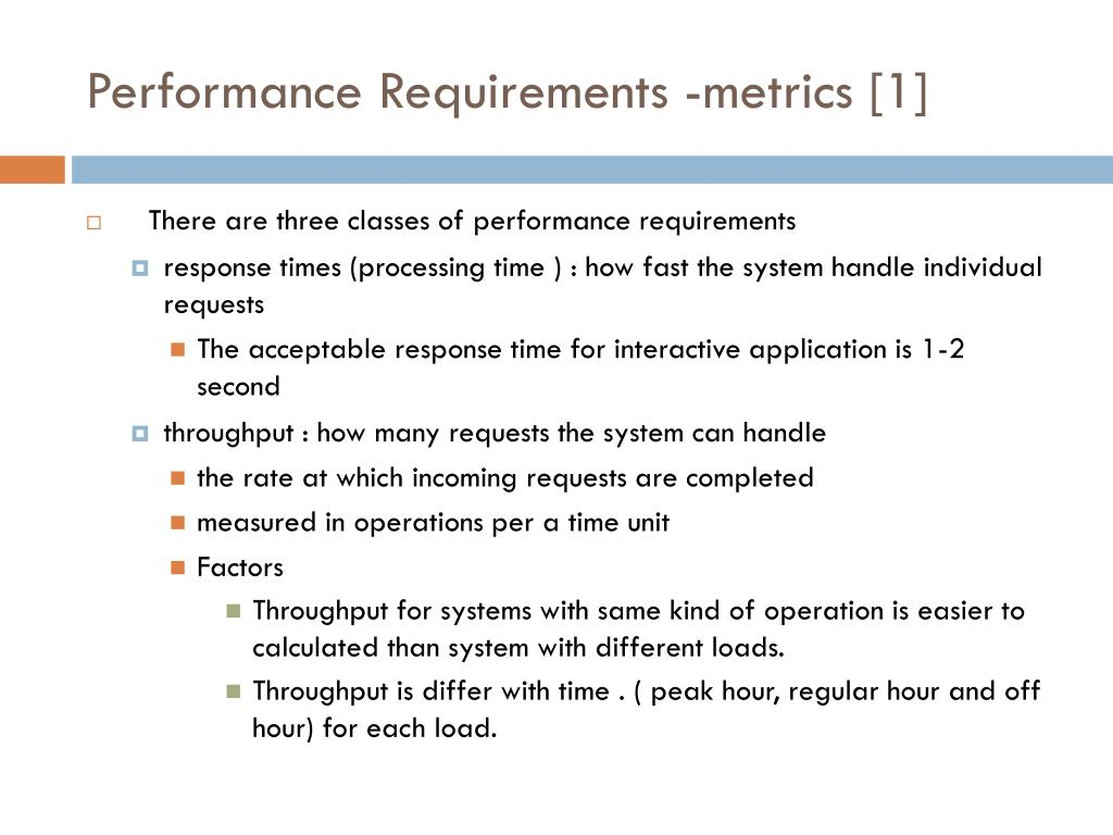 Performance Requirements -metrics [1]