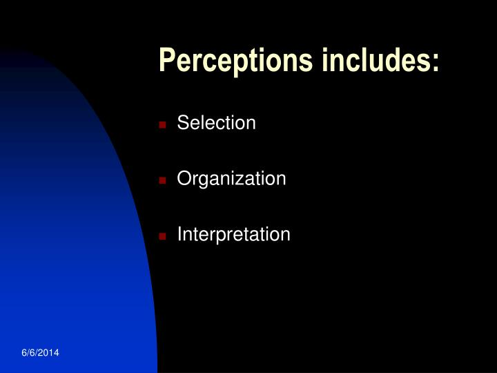 Perceptions includes: