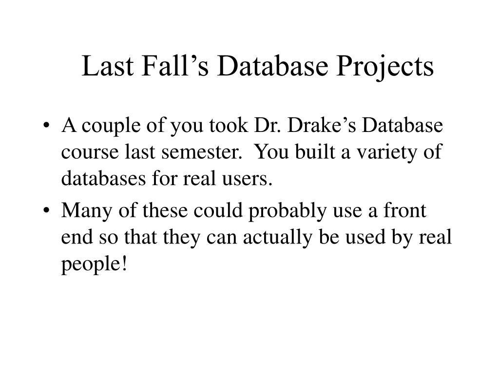 Last Fall's Database Projects
