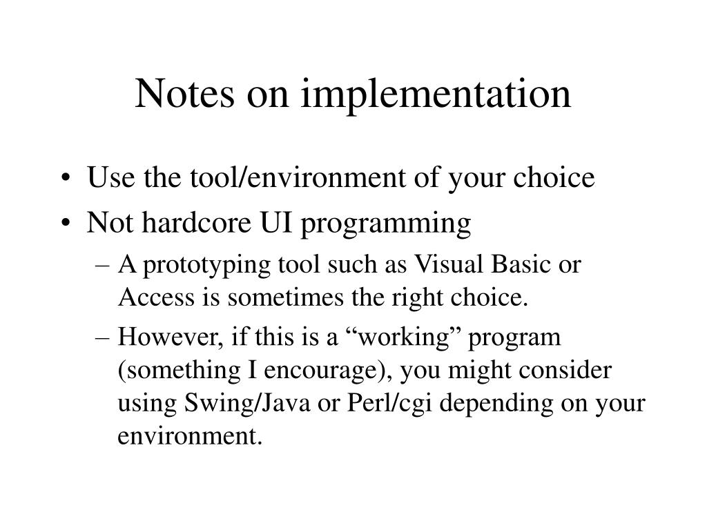 Notes on implementation