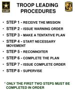 there are normally eight steps in the troop leading process what is step one