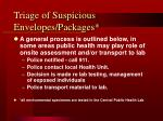 triage of suspicious envelopes packages