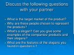 discuss the following questions with your partner