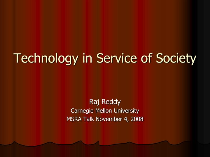 technology in service of society n.