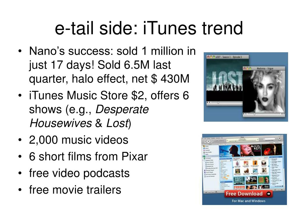 e-tail side: iTunes trend