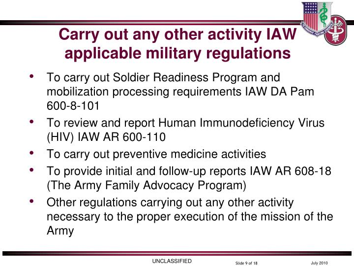 Carry out any other activity IAW