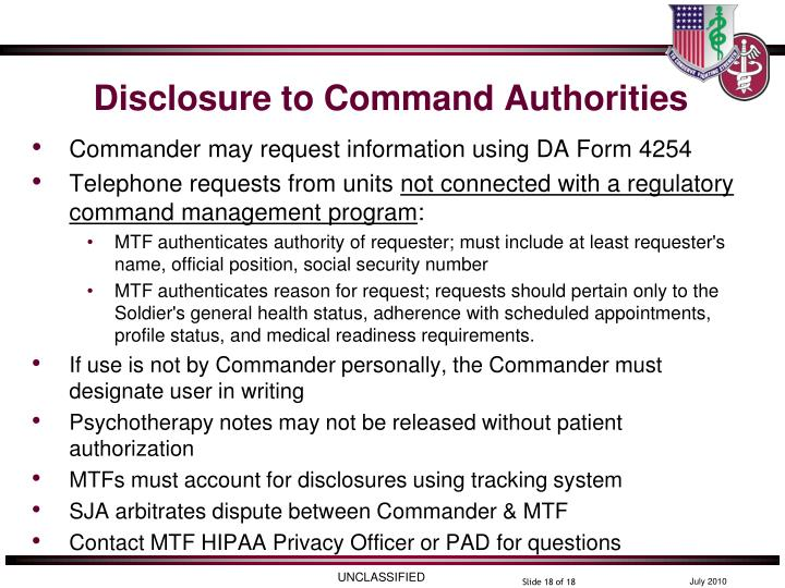 Disclosure to Command Authorities