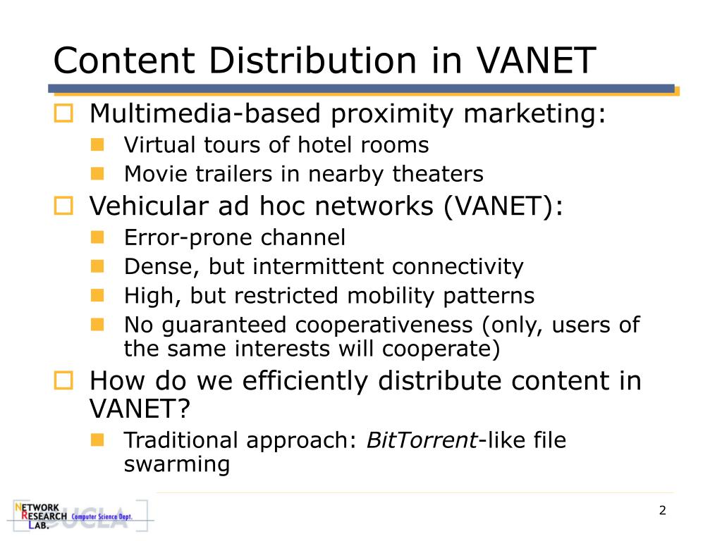 Content Distribution in VANET