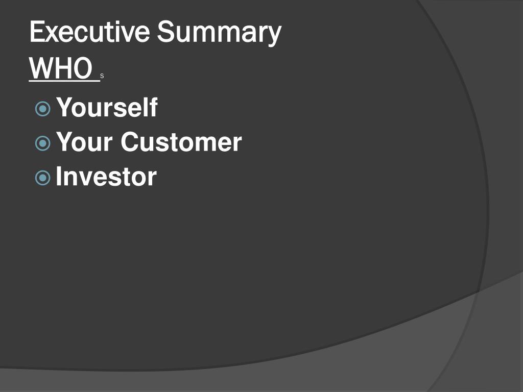 executive summary who s