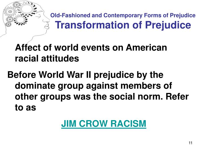 a history of the existence of prejudice and discrimination in america The resolution reads as follows: discrimination is injust the resolution needs additional explanation and definition discrimination is the treatment of a person on the basis of prejudice, where prejudice refers to a preconceived preference or idea.