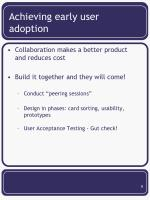 achieving early user adoption