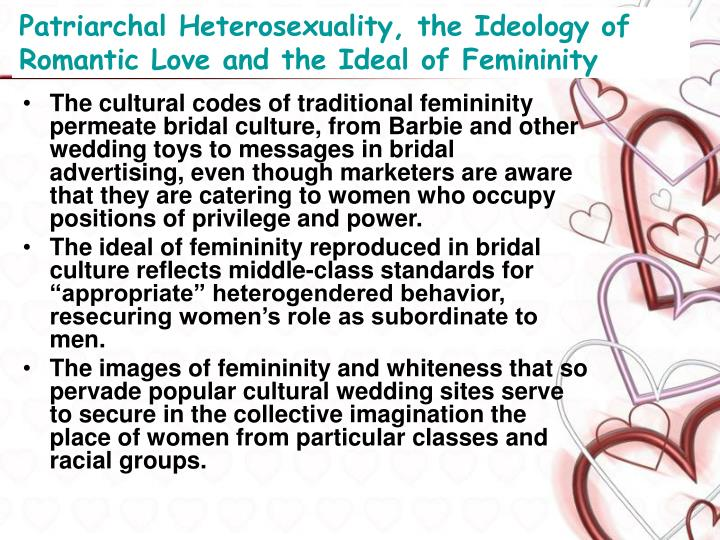 femininities and sexualities on ideals cultural Planned parenthood has a partner website about sexual health topics specifically for nigeria hyperfemininity is the exaggeration of stereotyped behavior that's believed to be feminine hyperfeminine folks exaggerate the qualities they believe to be feminine.