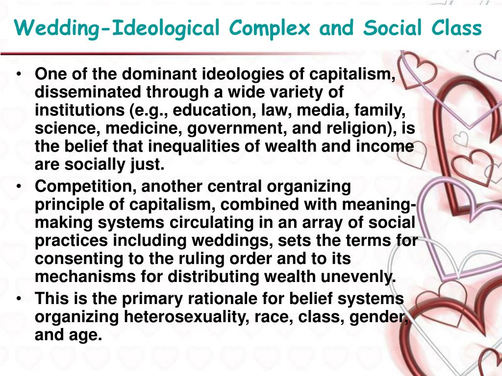 Wedding-Ideological Complex and Social Class