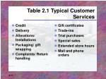 table 2 1 typical customer services