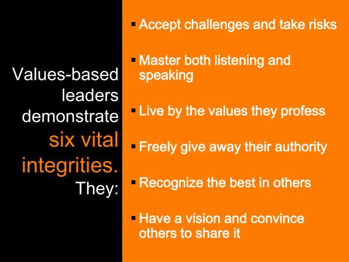 Values-based leaders demonstrate