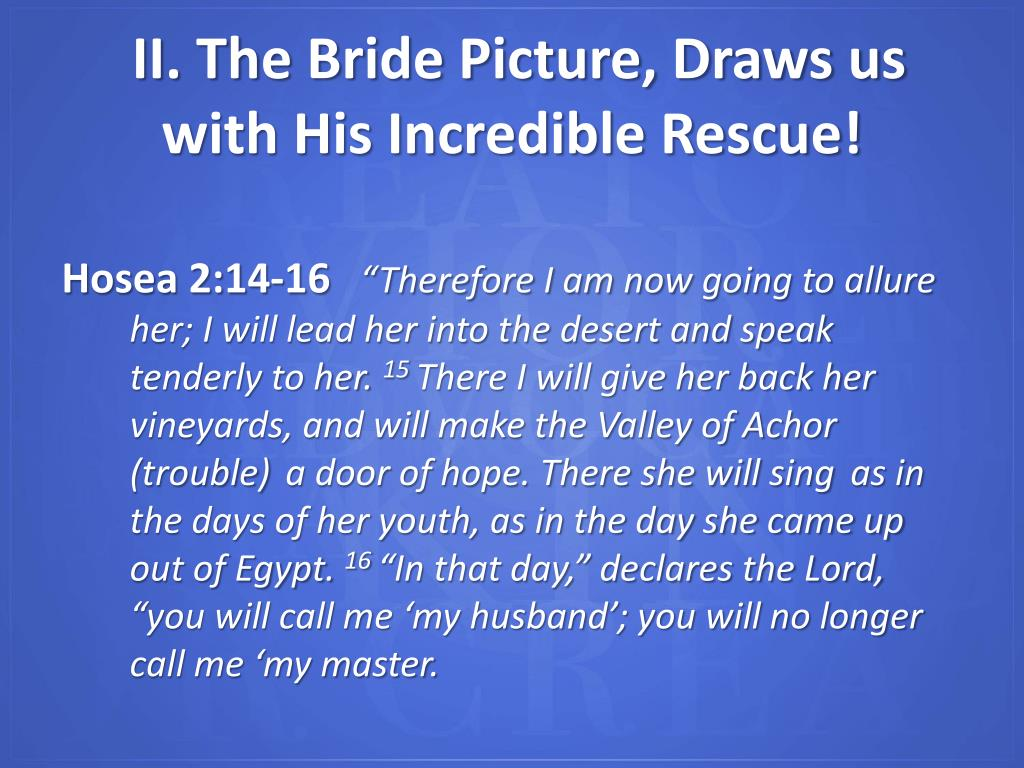II. The Bride Picture, Draws us with His Incredible Rescue!