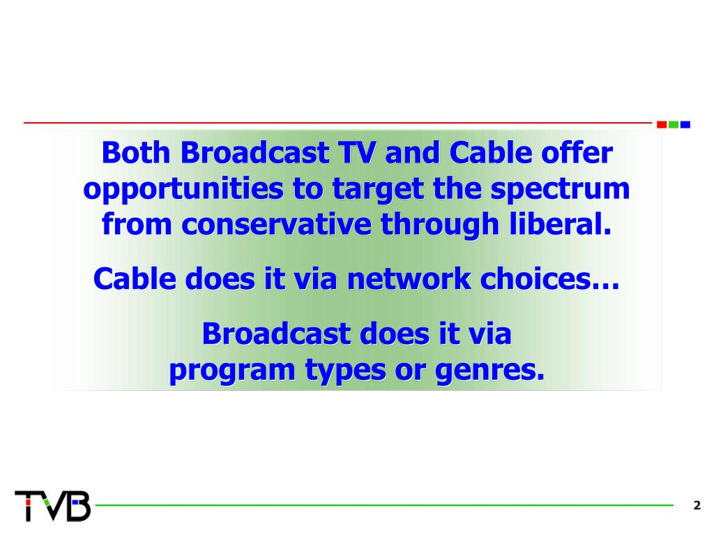 Both Broadcast TV and Cable offer opportunities to target the spectrum from conservative through liberal.