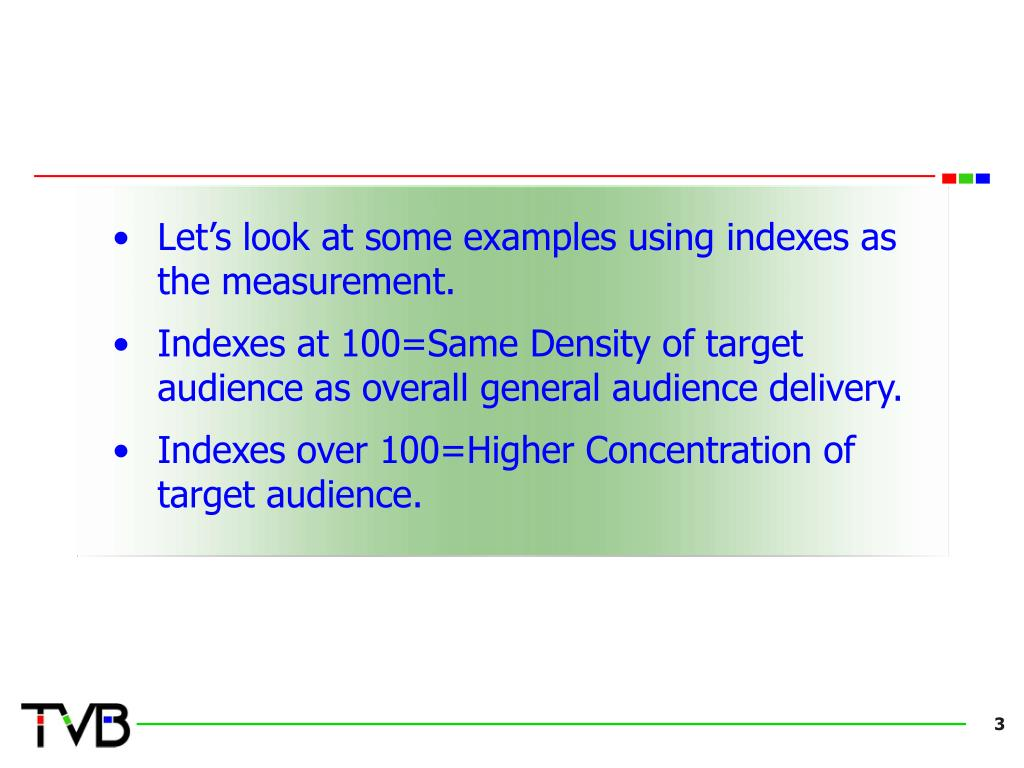 Let's look at some examples using indexes as the measurement.