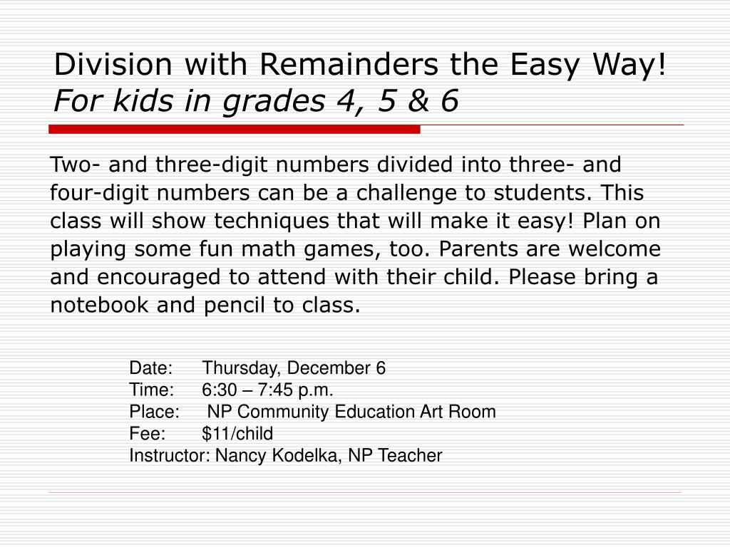 Division with Remainders the Easy Way!