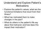 understand and explore patient s motivations