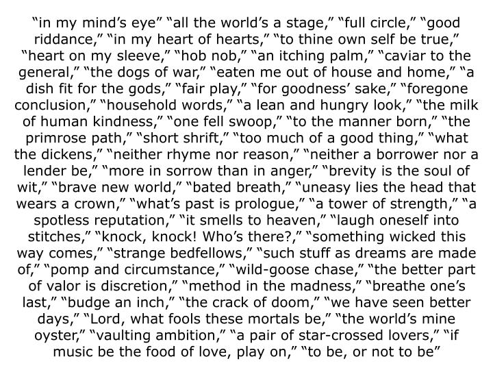 """""""in my mind's eye"""" """"all the world's a stage,"""" """"full circle,"""" """"good riddance,"""" """"in my heart of hearts,"""" """"to thine own self be true,"""" """"heart on my sleeve,"""" """"hob nob,"""" """"an itching palm,"""" """"caviar to the general,"""" """"the dogs of war,"""" """"eaten me out of house and home,"""" """"a dish fit for the gods,"""" """"fair play,"""" """"for goodness' sake,"""" """"foregone conclusion,"""" """"household words,"""" """"a lean and hungry look,"""" """"the milk of human kindness,"""" """"one fell swoop,"""" """"to the manner born,"""" """"the primrose path,"""" """"short shrift,"""" """"too much of a good thing,"""" """"what the dickens,"""" """"neither rhyme nor reason,"""" """"neither a borrower nor a lender be,"""" """"more in sorrow than in anger,"""" """"brevity is the soul of wit,"""" """"brave new world,"""" """"bated breath,"""" """"uneasy lies the head that wears a crown,"""" """"what's past is prologue,"""" """"a tower of strength,"""" """"a spotless reputation,"""" """"it smells to heaven,"""" """"laugh oneself into stitches,"""" """"knock, knock! Who's there?,"""" """"something wicked this way comes,"""" """"strange bedfellows,"""" """"such stuff as dreams are made of,"""" """"pomp and circumstance,"""" """"wild-goose chase,"""" """"the better part of valor is discretion,"""" """"method in the madness,"""" """"breathe one's last,"""" """"budge an inch,"""" """"the crack of doom,"""" """"we have seen better days,"""" """"Lord, what fools these mortals be,"""" """"the world's mine oyster,"""" """"vaulting ambition,"""" """"a pair of star-crossed lovers,"""" """"if music be the food of love, play on,"""" """"to be, or not to be"""""""